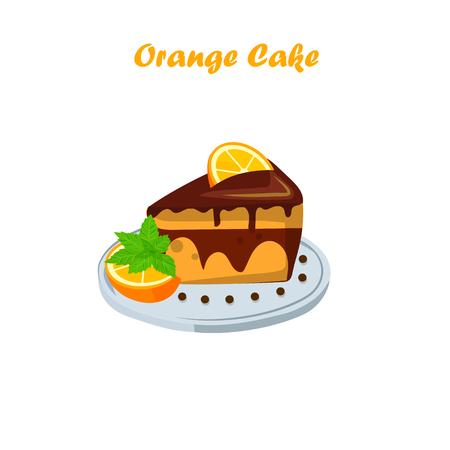 orange cake or pie Illustration