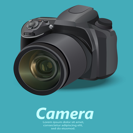 old photograph: illustration of realistic camera