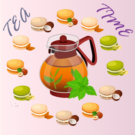Very high quality original trendy vector illustration of teapot with mint tea and macaroons cookie with different taste