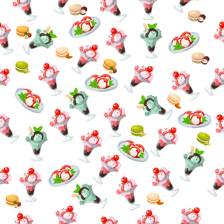 pistachios: ice cream in a glass Illustration