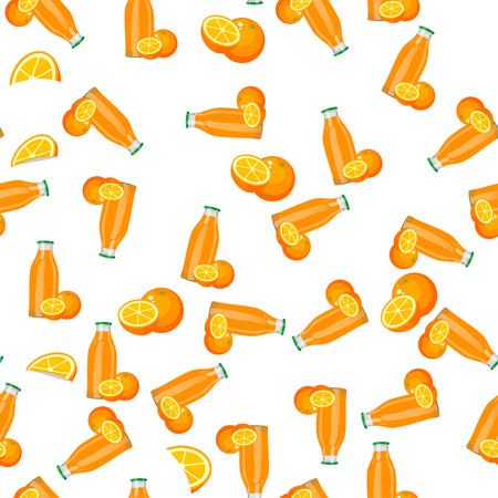 Very high quality original trendy vector seamless pattern with orange juice in glass bottle