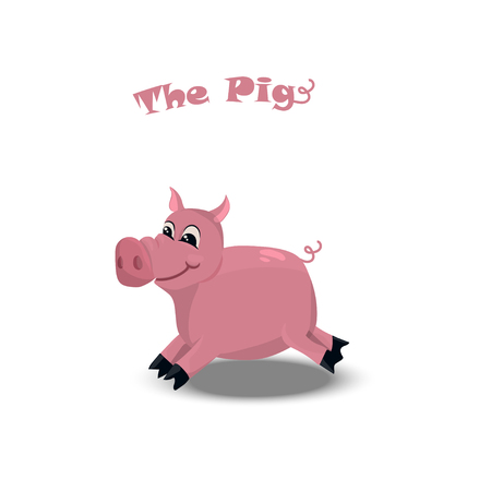 Cute pink pig Illustration