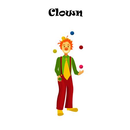 happy juggling circus clown.