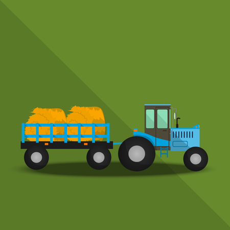 Farm Tractor with wagons Illustration