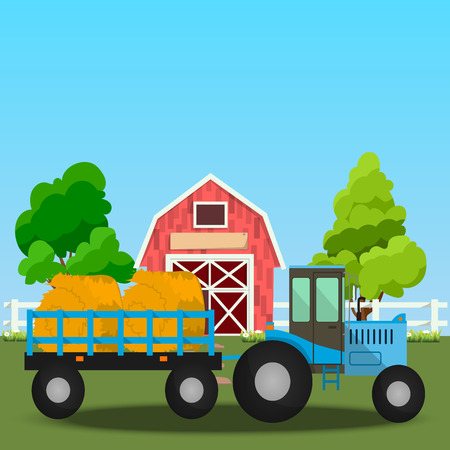 High quality original trendy vector illustration of Farm tractor with wagons full of hay near old Barn and green field with apple tree on background