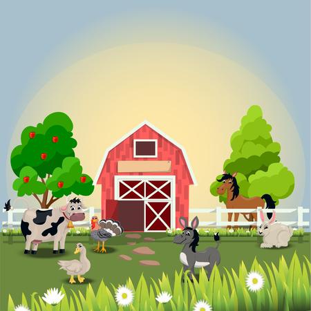 Felices y alegres animales de granja