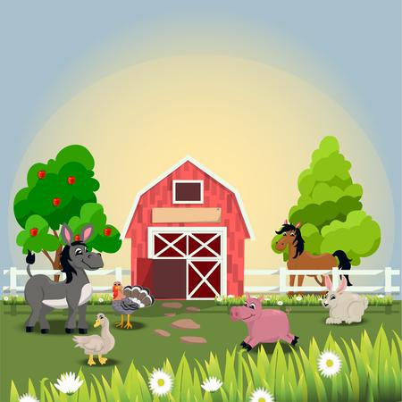 happy and cheerful farm animals