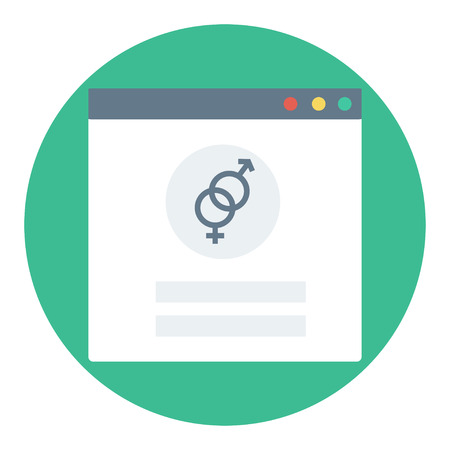 Trendy login or authorization screen with heterosexual orientation icon. Member settings frame or employee profile Illustration