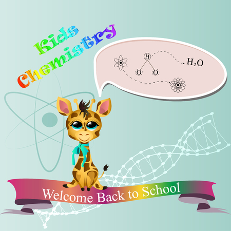 cute giraffe with ribbon study chemistry