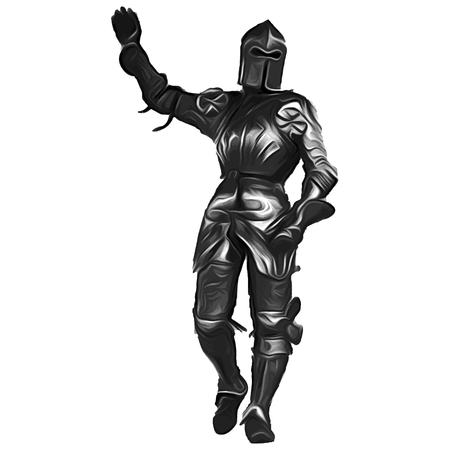 Knight in greeting pose Stock Photo