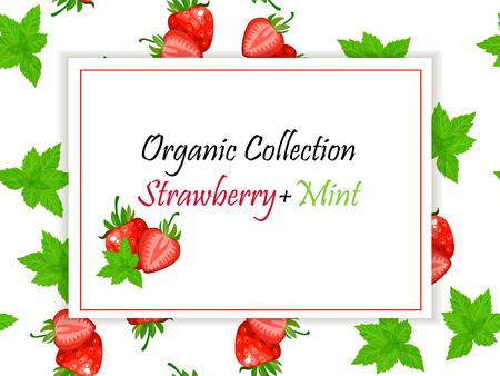 Étiquette carrée de vecteur, confiture de fraises et menthe ou jus Vecteurs