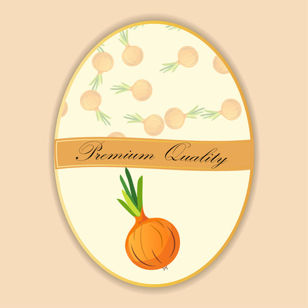 Seamless Onion pattern on label vegetables ripe sweet food.