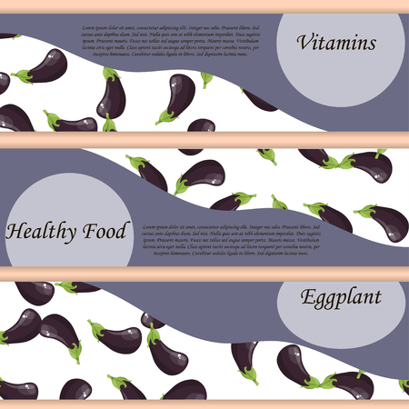 whole ripe vegetable purple eggplant,with green stem. Eggplant drawing seamless pattern. Symbol for sauce product label or banner for grocery store, shop and farm market design. Organic collection