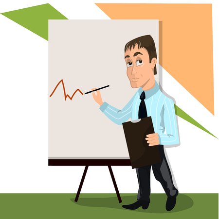 Lector or trainer stand near board presentation Illustration