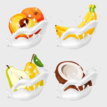 Fruits in milk splash