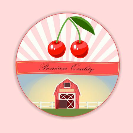 Vector round chery label