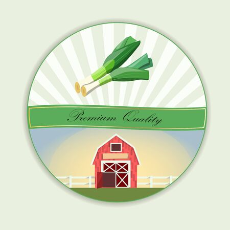 Vector Vegetable food banner. Leek sketch.
