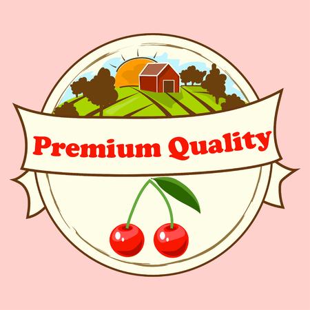 Vector round cherry label vector illustration.