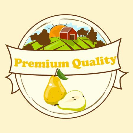 Fresh green pear juice and farm house in circular design