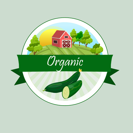 Vegetable background and farmhouse in circular design Stock Illustratie