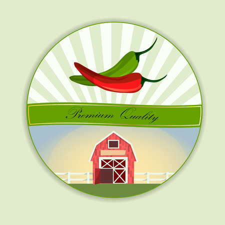 Pepper and paprika and farmhouse in circular design