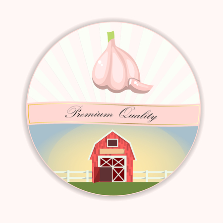 Vegetables vector background. Banner design with a onion, leek and garlic and farmhouse in circular design Illusztráció
