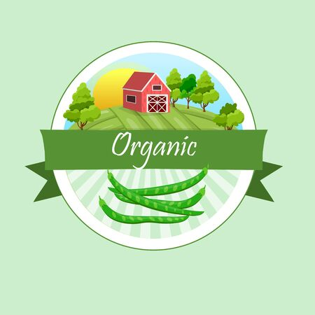 High quality vector illustration of beans label and farmhouse in circular design Illustration