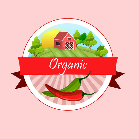 Pepper and paprika and farmhouse in circular design. Vector Illustration
