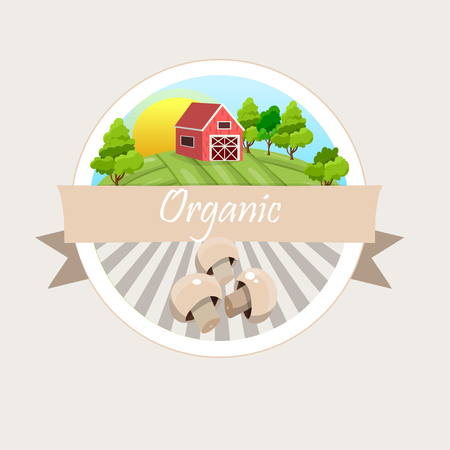 High quality vector illustration ofmuschrooms label.