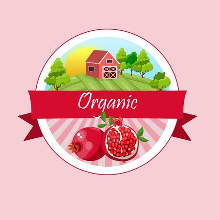 pomegranate or garnet Label Illustration