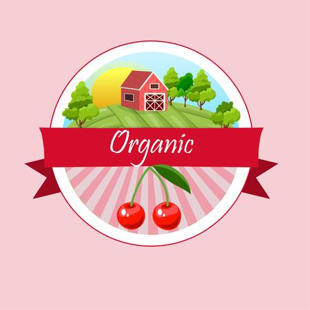 Vector round cherry label Illustration