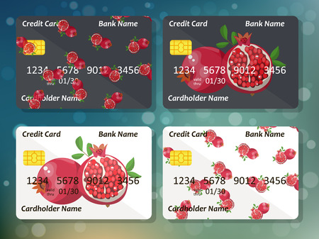 Original pomegranate credit card design on colorful bokeh background. Best design for bank credit card or gift card Vectores