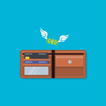 Wallet with money and credit card Illustration