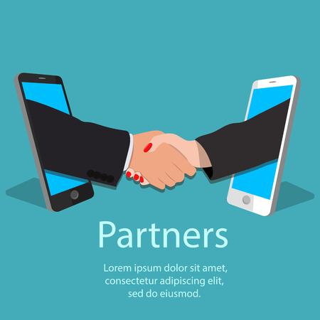 Vector illustration of mobile partnership concept