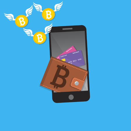 vector of digital bitcoin mobile wallet Stock Photo