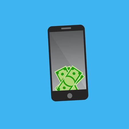 Dollars op smartphone scherm.