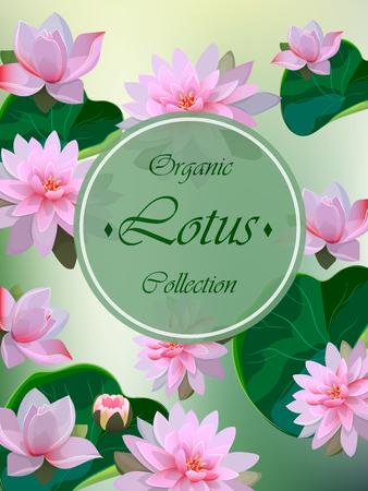 Hoge kwaliteit realistische vectorillustratie van lotusbloem. Achtergrond met lotus. Huwelijksuitnodiging.