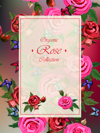 roses and butterflies greeting card concept
