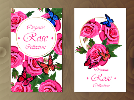 rose card on wooden background Stockfoto