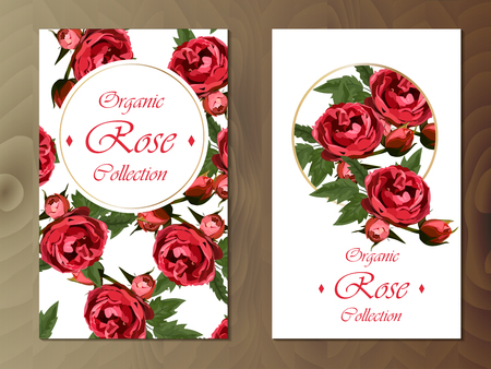 rose card on wooden background Фото со стока