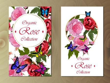 Prentbriefkaar met rozen en vlinders op houten achtergrond. Bruiloft of vakantie uitnodiging. Bloemencollectie