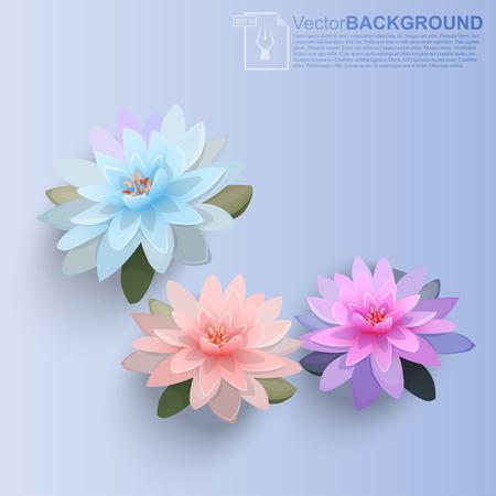 Hoge kwaliteit realistische vectorillustratie van lotusbloem. Begroeting of trouwkaart. Uitnodiging of etiket voor parfum