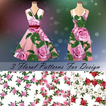 Dress with an trendy rose design.