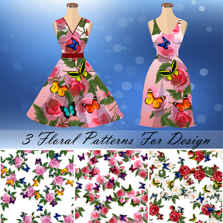 Dress with an trendy rose and butterflies design Vettoriali