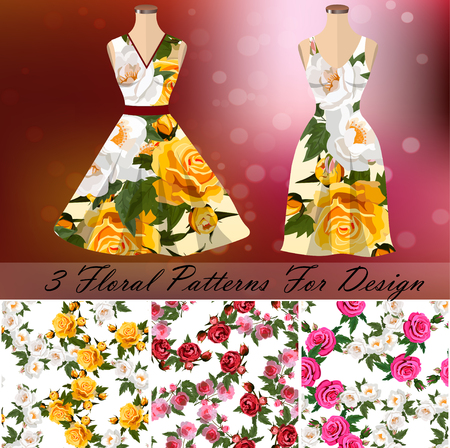 embroidery seamless rose pattens with dress template. Romantic textile set. Summer dress or night dress design Illustration