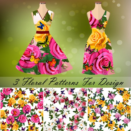 Ornament or embroidery for dress. 3 seamless rose and butterflies embroidery patterns for design, background or fashion. Summer dress design Illustration