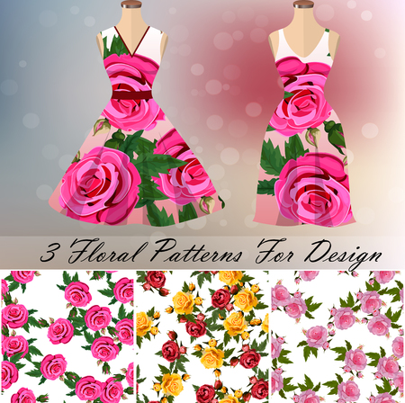 trendy fashion rose design. 3 seamless rose patterns for design or backgrounds. Dress embroidery, ornament or romantic design Illustration