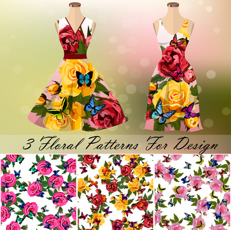 Dress with an trendy rose and butterflies design Illustration