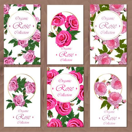 Briefkaart met rozen op houten achtergrond wordt geplaatst die. Bruiloft of vakantie uitnodiging set. Bloemencollectie