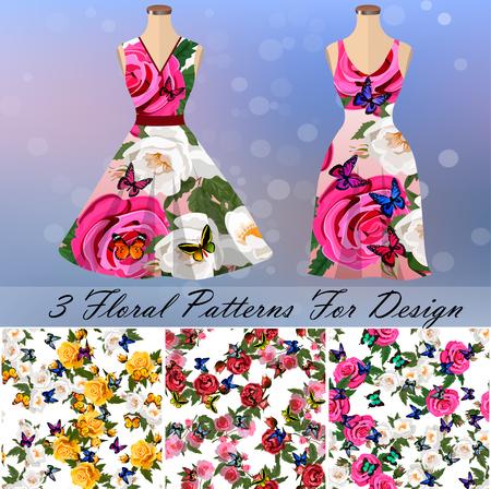 Dress with an trendy rose and butterflies design Standard-Bild